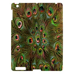 Peacock Feathers Green Background Apple iPad 3/4 Hardshell Case