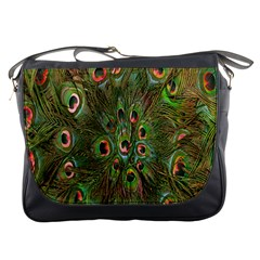 Peacock Feathers Green Background Messenger Bags