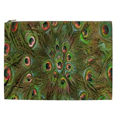 Peacock Feathers Green Background Cosmetic Bag (XXL)