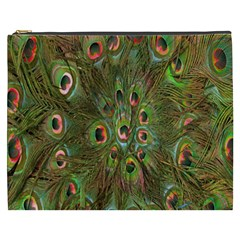 Peacock Feathers Green Background Cosmetic Bag (XXXL)