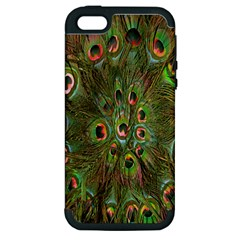 Peacock Feathers Green Background Apple iPhone 5 Hardshell Case (PC+Silicone)