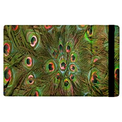 Peacock Feathers Green Background Apple Ipad 3/4 Flip Case