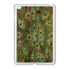 Peacock Feathers Green Background Apple iPad Mini Case (White)