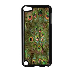 Peacock Feathers Green Background Apple iPod Touch 5 Case (Black)