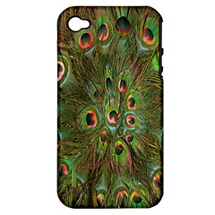 Peacock Feathers Green Background Apple iPhone 4/4S Hardshell Case (PC+Silicone)