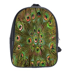 Peacock Feathers Green Background School Bags (XL)