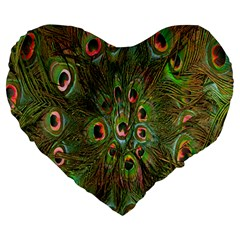 Peacock Feathers Green Background Large 19  Premium Heart Shape Cushions