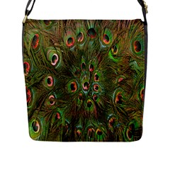 Peacock Feathers Green Background Flap Messenger Bag (L)