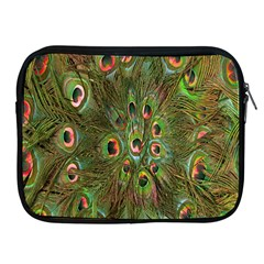 Peacock Feathers Green Background Apple Ipad 2/3/4 Zipper Cases