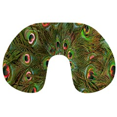 Peacock Feathers Green Background Travel Neck Pillows