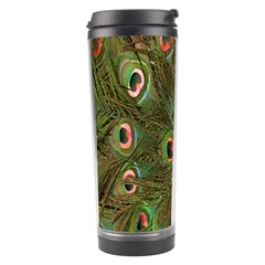 Peacock Feathers Green Background Travel Tumbler