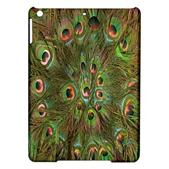 Peacock Feathers Green Background iPad Air Hardshell Cases