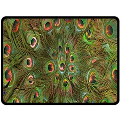 Peacock Feathers Green Background Double Sided Fleece Blanket (Large)