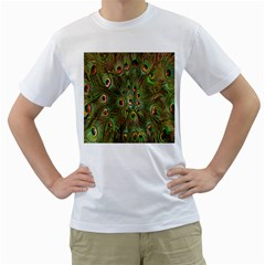 Peacock Feathers Green Background Men s T-Shirt (White)