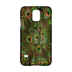 Peacock Feathers Green Background Samsung Galaxy S5 Hardshell Case