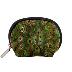 Peacock Feathers Green Background Accessory Pouches (Small)