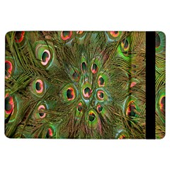 Peacock Feathers Green Background iPad Air Flip