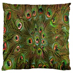 Peacock Feathers Green Background Large Flano Cushion Case (one Side)