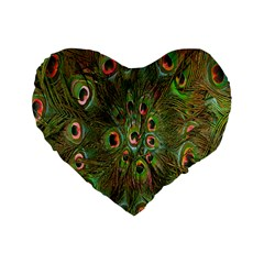 Peacock Feathers Green Background Standard 16  Premium Flano Heart Shape Cushions