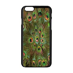 Peacock Feathers Green Background Apple iPhone 6/6S Black Enamel Case