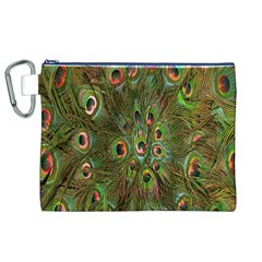 Peacock Feathers Green Background Canvas Cosmetic Bag (XL)