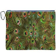 Peacock Feathers Green Background Canvas Cosmetic Bag (xxxl)