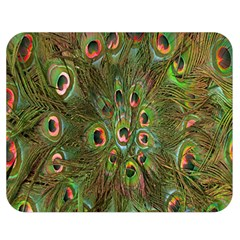 Peacock Feathers Green Background Double Sided Flano Blanket (Medium)