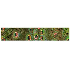 Peacock Feathers Green Background Flano Scarf (Large)