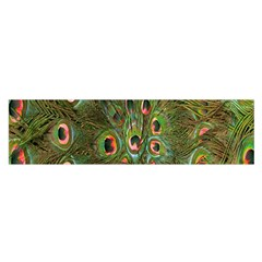 Peacock Feathers Green Background Satin Scarf (Oblong)
