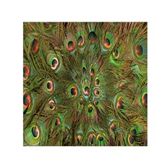 Peacock Feathers Green Background Small Satin Scarf (Square)