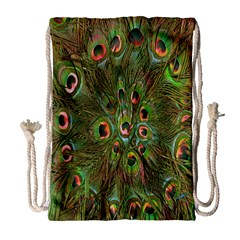 Peacock Feathers Green Background Drawstring Bag (Large)