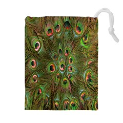 Peacock Feathers Green Background Drawstring Pouches (Extra Large)