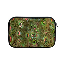 Peacock Feathers Green Background Apple Macbook Pro 13  Zipper Case