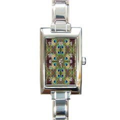 Beautiful Peacock Feathers Seamless Abstract Wallpaper Background Rectangle Italian Charm Watch