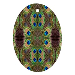 Beautiful Peacock Feathers Seamless Abstract Wallpaper Background Ornament (oval)