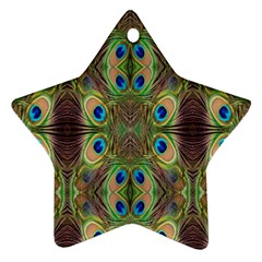Beautiful Peacock Feathers Seamless Abstract Wallpaper Background Ornament (Star)
