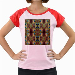 Beautiful Peacock Feathers Seamless Abstract Wallpaper Background Women s Cap Sleeve T Shirt