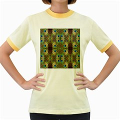 Beautiful Peacock Feathers Seamless Abstract Wallpaper Background Women s Fitted Ringer T Shirts