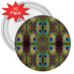 Beautiful Peacock Feathers Seamless Abstract Wallpaper Background 3  Buttons (10 Pack)