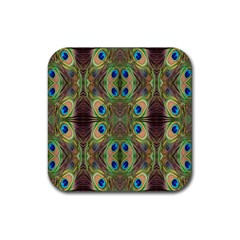 Beautiful Peacock Feathers Seamless Abstract Wallpaper Background Rubber Square Coaster (4 pack)