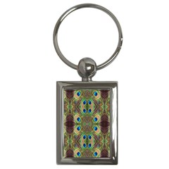 Beautiful Peacock Feathers Seamless Abstract Wallpaper Background Key Chains (Rectangle)