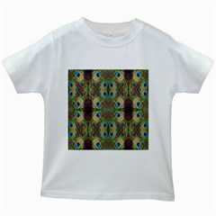 Beautiful Peacock Feathers Seamless Abstract Wallpaper Background Kids White T Shirts