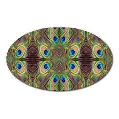 Beautiful Peacock Feathers Seamless Abstract Wallpaper Background Oval Magnet