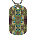 Beautiful Peacock Feathers Seamless Abstract Wallpaper Background Dog Tag (One Side) Front