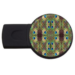 Beautiful Peacock Feathers Seamless Abstract Wallpaper Background USB Flash Drive Round (2 GB)