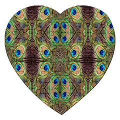 Beautiful Peacock Feathers Seamless Abstract Wallpaper Background Jigsaw Puzzle (heart)