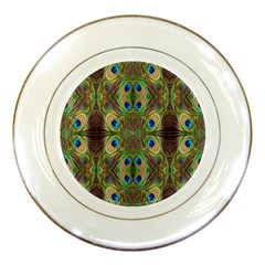 Beautiful Peacock Feathers Seamless Abstract Wallpaper Background Porcelain Plates