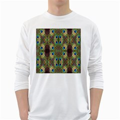 Beautiful Peacock Feathers Seamless Abstract Wallpaper Background White Long Sleeve T-Shirts