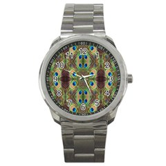Beautiful Peacock Feathers Seamless Abstract Wallpaper Background Sport Metal Watch
