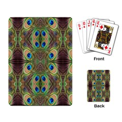 Beautiful Peacock Feathers Seamless Abstract Wallpaper Background Playing Card